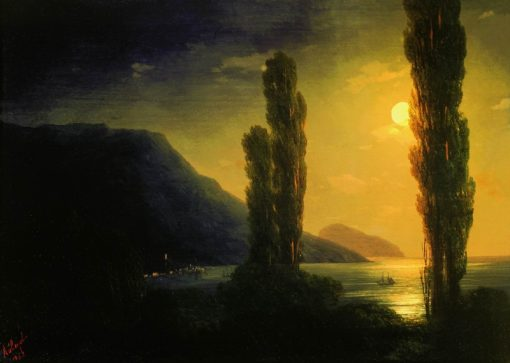 A Moonlit Night in the Outskirts of Yalta | Ivan Constantinovich Aivazovsky | Oil Painting