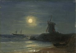 The Windmill in the Moonlight | Ivan Constantinovich Aivazovsky | Oil Painting