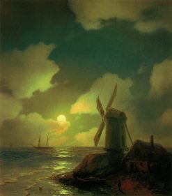 The Windmill on the Seashore | Ivan Constantinovich Aivazovsky | Oil Painting