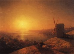 The Windmill on the Riverbank | Ivan Constantinovich Aivazovsky | Oil Painting