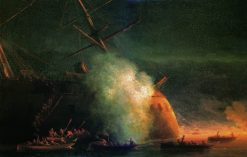 Russian Cutters Attack a Turkish Warship | Ivan Constantinovich Aivazovsky | Oil Painting