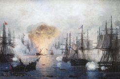Sea Battle near Navarine | Ivan Constantinovich Aivazovsky | Oil Painting