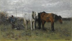 A Ploughing Farmer | Anton Mauve | Oil Painting