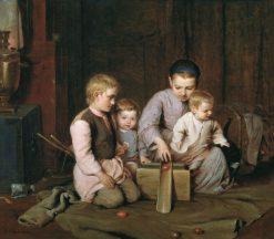 Children Rolling Easter Eggs | Nikolai Koshelev | Oil Painting