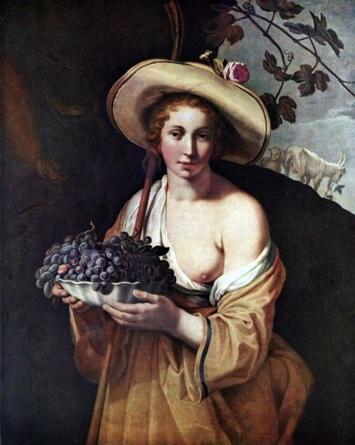 Shepherdess with Grapes | Abraham Bloemaert | Oil Painting