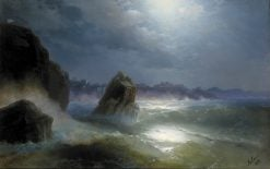 Approaching the City at Night | Ivan Constantinovich Aivazovsky | Oil Painting