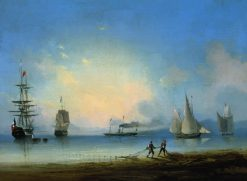 Russian and French Frigates | Ivan Constantinovich Aivazovsky | Oil Painting