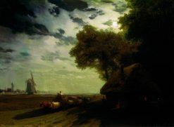 Ukrainian Landscape at Night | Ivan Constantinovich Aivazovsky | Oil Painting