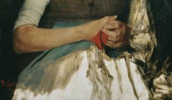 Two hands with red cloth on blue apron | Wilhelm Leibl | Oil Painting