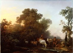 Landscape with Cattle and Figures | Philippe-Jacques de Loutherbourg | Oil Painting