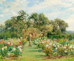A sundial in a rose garden | Alfred William Parsons