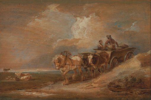 Landscape with Horse and Oxen Cart   Philippe-Jacques de Loutherbourg   Oil Painting