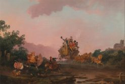 Revellers on a Coach | Philippe-Jacques de Loutherbourg | Oil Painting