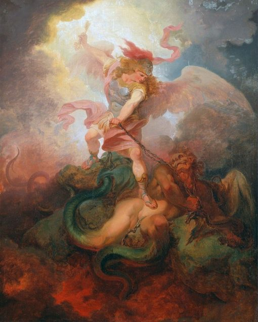 The Angel Binding Satan | Philippe-Jacques de Loutherbourg | Oil Painting