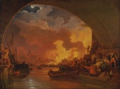 The Great Fire of London | Philippe-Jacques de Loutherbourg | Oil Painting