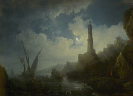 A Moonlit Night | Philippe-Jacques de Loutherbourg | Oil Painting