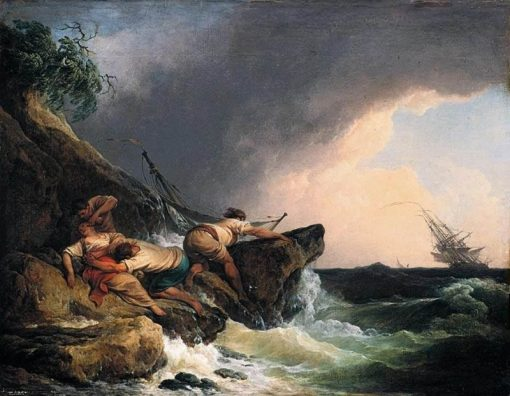 Rocky Coastal Landscape in a Storm | Philippe-Jacques de Loutherbourg | Oil Painting