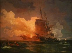 A Maltese Ship Attacked by Algerian Pirates | Philippe-Jacques de Loutherbourg | Oil Painting