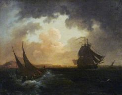 View of Havre from the Sea | Philippe-Jacques de Loutherbourg | Oil Painting
