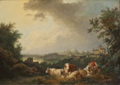 Landscape with Resting Cattle | Philippe-Jacques de Loutherbourg | Oil Painting