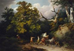 Bandits attacking travelers in a forest in Germany | Philippe-Jacques de Loutherbourg | Oil Painting