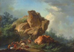 Thieves attacking travelers in a mountain gorge | Philippe-Jacques de Loutherbourg | Oil Painting