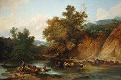 The River Wye at Tintern Abbey | Philippe-Jacques de Loutherbourg | Oil Painting