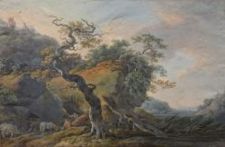 Landscape with two shepherds | Philippe-Jacques de Loutherbourg | Oil Painting