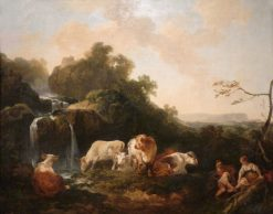 Landscape with Figures and Cattle | Philippe-Jacques de Loutherbourg | Oil Painting