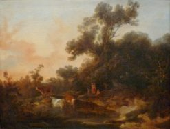 Landscape with Figures and Cattle at Sunset | Philippe-Jacques de Loutherbourg | Oil Painting