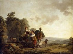 Travellers at a Well | Philippe-Jacques de Loutherbourg | Oil Painting