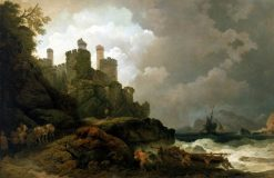 A Fishing Boat Brought Ashore near Conway Castle | Philippe-Jacques de Loutherbourg | Oil Painting
