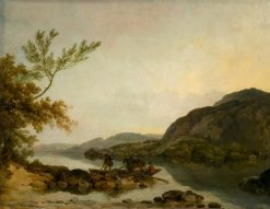 A River Scene with a Ferry | Philippe-Jacques de Loutherbourg | Oil Painting