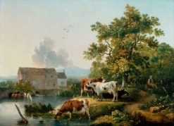 Landscape with Cattle Watering in a Mill Stream | Philippe-Jacques de Loutherbourg | Oil Painting