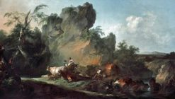 Landscape with Figures and Animals | Philippe-Jacques de Loutherbourg | Oil Painting