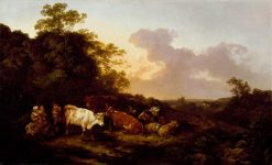 Landscape with Cattle and Figures -  A Storm Coming On | Philippe-Jacques de Loutherbourg | Oil Painting