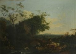 Landscape with Gateway and Cattle | Philippe-Jacques de Loutherbourg | Oil Painting
