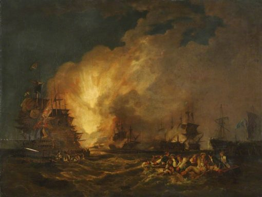 The Battle of the Nile   Philippe-Jacques de Loutherbourg   Oil Painting