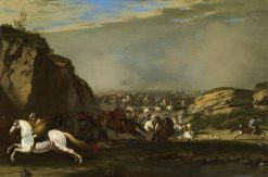 Cavalry battle between Turks and Christians | Aniello Falcone | Oil Painting