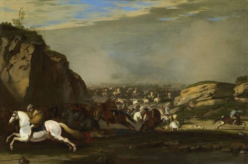 Cavalry battle between Turks and Christians   Aniello Falcone   Oil Painting