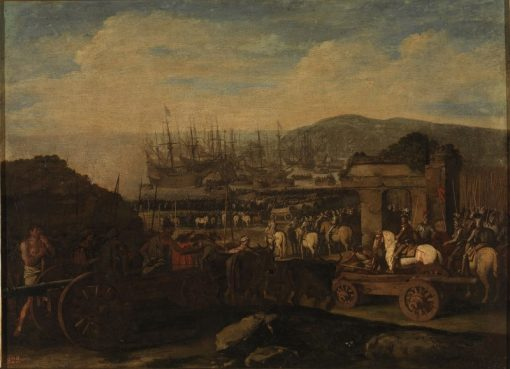 Embarkation of artillery troops | Aniello Falcone | Oil Painting