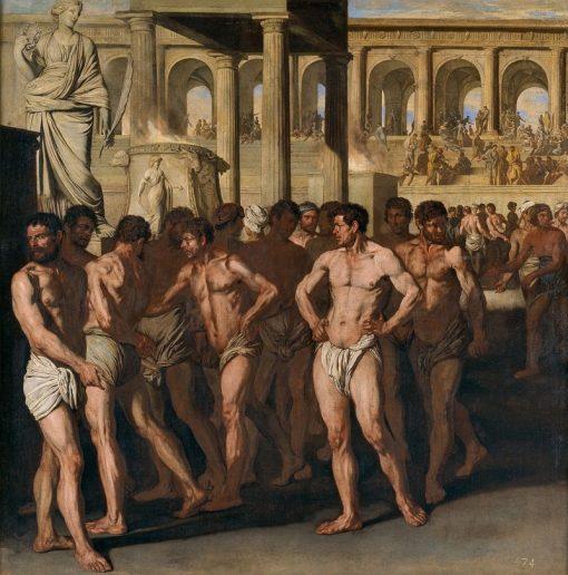 Roman Athletes | Aniello Falcone | Oil Painting