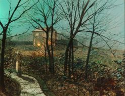 Woman on a path by a cottage | John Atkinson Grimshaw | Oil Painting