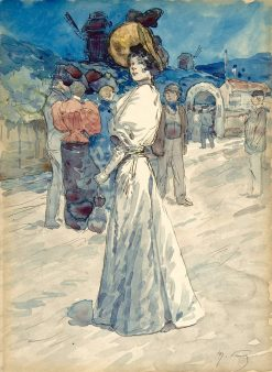 A Parisienne Outside the Moulin de la Galette | Henri Somm | Oil Painting