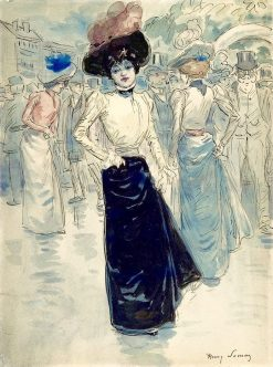 A Parisienne on a Crowded Street | Henri Somm | Oil Painting