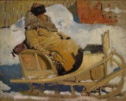 Peasant on a Sleigh | Sergei Ivanov | Oil Painting