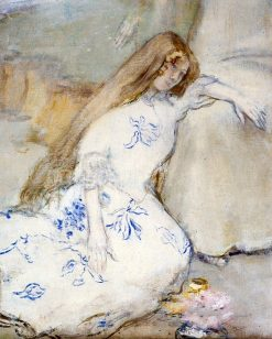 A Young Girl Resting   Jean-Francois Raffaëlli   Oil Painting