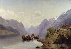 Bridal Escort on the Hardanger Fiord   Johan Fredrik Eckersberg   Oil Painting