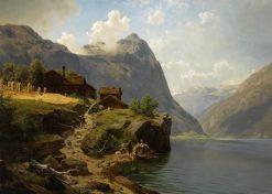 Figures in a mountainous river landscape   Johan Fredrik Eckersberg   Oil Painting