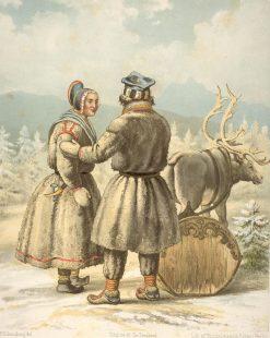 Sami people in winter garments in Karasjok